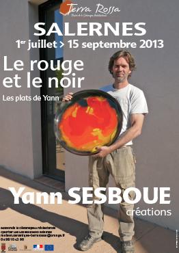 Affiche de l'exposition de céramiques : le rouge et le noir de Yann Sesboue, au musée de la céramique Terra Rossa à Salernes