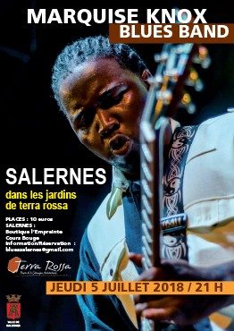 Affiche du concert Marquise Knox blues band au musée de la céramique Terra Rossa à Salernes, 2018