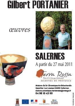 Affiche de l'exposition de céramiques Oeuvres de Gilbert Portanier, au musée de la céramique Terra Rossa à Salernes, 2011