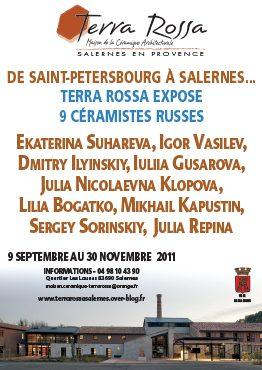 Affiche de l'exposition de céramiques au musée de la céramique Terra Rossa à Salernes : DE SAINT-PETERSBOURG À SALERNES...