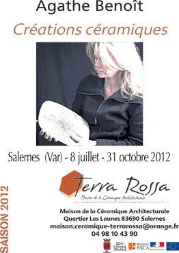 Affiche de l'exposition Créations de céramique d'Agathe Benoît, au musée de la céramique Terra Rossa à Salernes