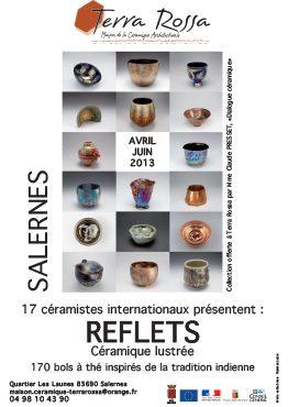 Affiche de l'exposition de céramiques, Reflets, 170 bols à thé inspirés de la tradition indienne, au musée de la céramique Terra Rossa à Salernes
