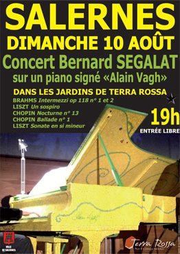 Affiche du concert de Bernard SEGALAT sur un piano signé par Alain Vagh