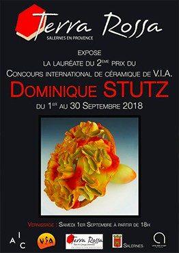 Affiche de l'exposition de la lauréate du deuxième prix du concours de céramique organisé par le VIA au musée de la céramique Terra Rossa à Salernes, 2018