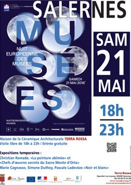 Affiche de la nuit européenne des musées 2016 au musée de la céramique Terra Rossa à Salernes