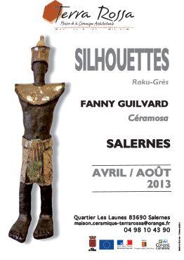 Affiche de l'exposition de céramiques Silhouettes, de Fanny GUILVARD, au musée de la céramique Terra Rossa à Salernes, 2013