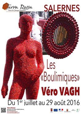 Affiche de l'exposition de céramiques les Boulimiques une exposition de Véro Vagh, au musée de la céramique Terra Rossa, Salernes, 2016
