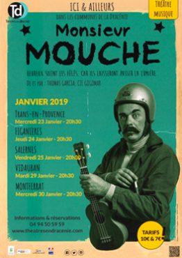Affiche : spectacle au musée de la céramique Terra Rossa à Salernes en 2019 : Monsieur Mouche
