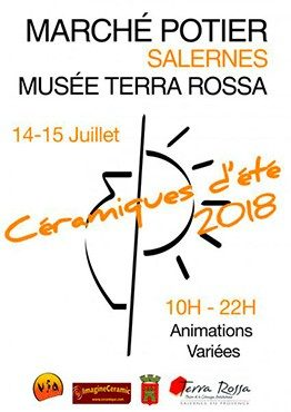 Affiche du marché potier de Salernes en 2018, Maison de la céramique Terra Rossa, Salernes